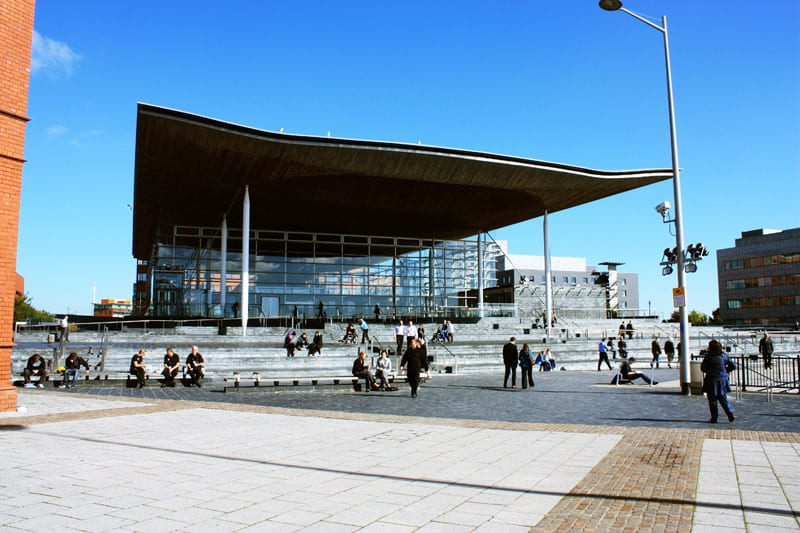 The Senedd in Cardiff Bay houses the National Assembly for Wales which makes law for Wales on devolved matters